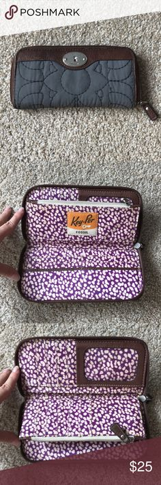 Fossil Clutch. Brown and grey Fossil clutch with cute purple patterned interior. Bags Clutches & Wristlets