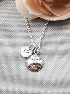 Personalized softball necklace, baseball necklace, sports necklace, number necklace, gift for athlete Softball Necklace, Softball Crafts, Softball Party, Baseball Jewelry, Baseball Girlfriend, Kentucky Basketball, Duke Basketball, Kentucky Wildcats, Sports Baseball