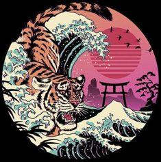 Rad Tiger Wave T Shirt By Vincenttrinidad Design By Humans Japanese Pop Art, Japanese Tattoo Art, Japanese Prints, Japanese Graffiti, New Retro Wave, Retro Waves, Posca Art, Japon Illustration, Dope Art
