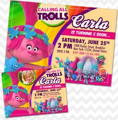 Trolls Invitation, Poppy Invitation Perfect for any age and last minute birthday parties. Simply message us your customization requests. 24 hours turnaround time guaranteed for proofs! ► WHAT YOU GET DIGITAL FILE - JPG file size 5x7 or 4x6 if preferred. You print it at home or photo labs ...
