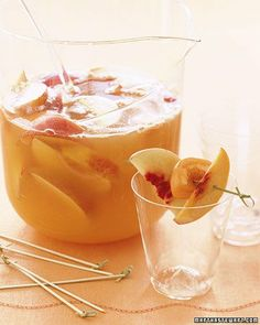 Prosecco Sangria -   1 peach   1 nectarine   3 apricots   5 ounces peach brandy   1 bottle (750 mL) chilled Prosecco, (Italian sparkling wine)   1 cup peach nectar   Superfine sugar (optional)    Directions  1. Step 1   In a pitcher, combine peach, nectarine, and apricots, all pitted and cut into wedges. Stir in peach brandy; let sit at least 1 hour. Stir in Prosecco and peach nectar. Add superfine sugar, if desired. Serve chilled.