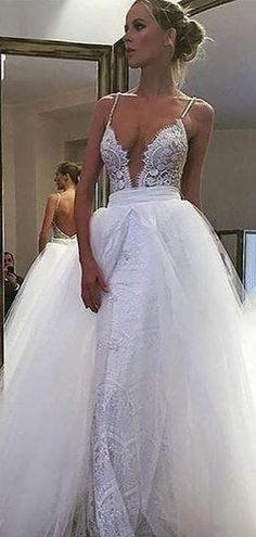 Sexy Backless Spaghetti Straps A-line Cheap Wedding Dresses Online, WD – LoverBridal Detachable Wedding Dress, Corset Back Wedding Dress, Western Wedding Dresses, Classic Wedding Dress, Sexy Wedding Dresses, Princess Wedding Dresses, Bridal Dresses, Lace Dress, Backless Wedding