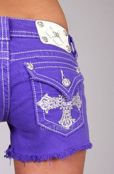 Details about Miss Me Jeans Shorts Royal Crystal Cross Purple Denim Sz - Things to buy nat - Cute Jeans, My Jeans, Girls Jeans, Jeans Style, Bling Jeans, Miss Me Jeans, Miss Me Shorts, Country Fashion, Country Outfits