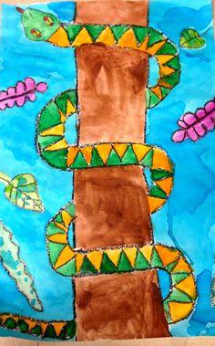 Art: Expression of Imagination: Second Grade Snakes elementary art lesson jungle rainforest project Kids Art Class, Art For Kids, First Grade Art, Second Grade, Grade 1, Overlapping Art, Les Reptiles, Animal Art Projects, Jungle Art