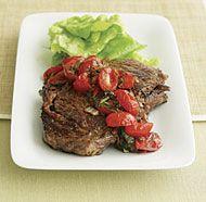 Pan-Seared Rib-Eye Steak with Balsamic Onion & Tomato Salsa.  Delicious!