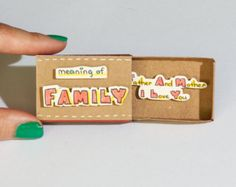 "Mother Father card/ Family Parents Card / Matchbox/ Gift box / Message box/ ""I love you"""
