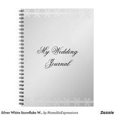 Silver White Snowflake Winter Wedding Journal