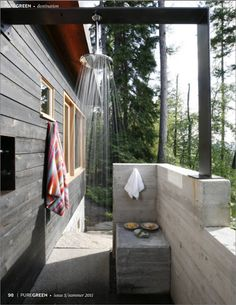 Things to consider:  south texas: hot.  Take showers in the evening when water would have had all day to warm up (save on heating costs)  Even in Northern MN we had outdoor showers at the cabin.  No big deal--it ensures adherence to the 3 minute shower rule!!!