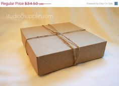 6 1/2  x 6 1/2 x 1 5/8 Natural Kraft Paper Gift Boxes by studio8supplies, $27.60