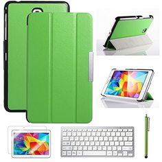 """Tab4 7.0 Case ULAK Case for Samsung Galaxy Tab4 7.0"""" T230 /T231/ T235 Galaxy Tab 4 Nook Slim Flip Stand tablet Cover Skin Stander with Wireless Bluetooth Keyboard + Screen Protector + Stylus (Green) ULAK http://www.amazon.com/dp/B00N4MXCLU/ref=cm_sw_r_pi_dp_F8rbub0RDQ9JJ"""