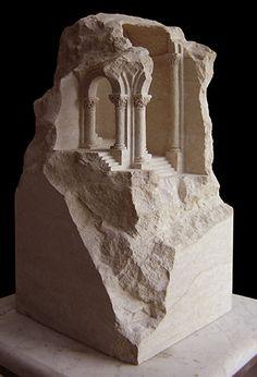 Romanesque Stone - Sandstone Sculpture by British artist Matthew Simmonds