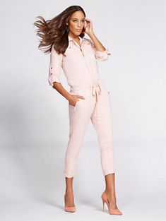 ad1c71df616f Shop Gabrielle Union Collection - Denim Jumpsuit - Blush . Find your  perfect size online at. New York   Company
