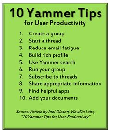 10 Productivity Tips for Yammer by Joel Oleson