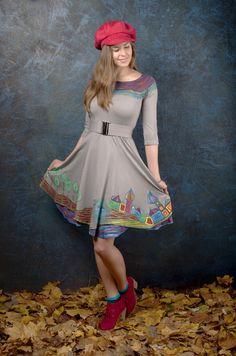 Originální, ručně malované šaty Hundertwasserovky
