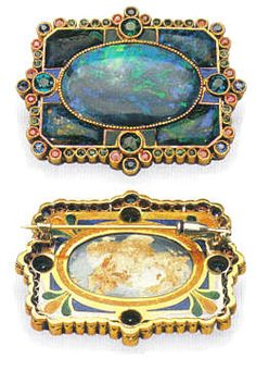 brooch - black opal, gold, azurite, rubies, sapphires, emeralds, enamel