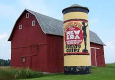New Era Potato Chip Silo, E. (Southeast of town. exit then drive south one mile on E. On the left, next to the road. Country Barns, Old Barns, Ropes Course, Michigan Travel, Barn Quilts, Potato Chips, Stables, Portland, Shed