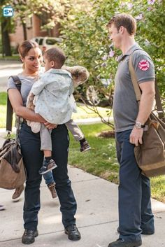 Jesse Spencer, Monica Raymund, Aiden Cohen, and Austin Cohen in Chicago Fire Chicago Fire Season 5, Chicago Fire Casey, Chicago At Night, Chicago Med, Gabby Dawson, Chigago Fire, Monica Raymund, Chicago Justice, Jesse Spencer