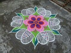 Wall Paper Flowers Design Colour 33 Ideas For 2019 Simple Rangoli Images, Latest Rangoli Designs Images, Rangoli Simple, Indian Rangoli Designs, Rangoli Ideas, Rangoli Designs With Dots, Beautiful Rangoli Designs, Free Hand Rangoli Design, Small Rangoli Design