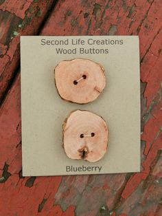 Buttons Wood Two Handmade Blueberry Wood Buttons 1 by cbrandt12, $8.00
