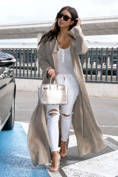Kim Kardashian Surprised Her Biggest Fans with a Movie Night!: Photo Kim Kardashian and her husband Kanye West make their way through Charles de Gaulle Airport after a short trip on Tuesday (June in Paris, France. Cute Date Outfits, Casual Outfits, Fashion Outfits, Womens Fashion, Kim K Style, My Style, Look Kim Kardashian, Celebrity Summer Style, Paris Street Fashion