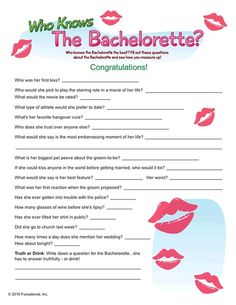 """Bachelorette Game!  I especially love the """"truth or drink!"""""""