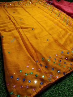 Chiffon Sarees with mirror work at (PID: All over flaux mirror work chiffon saree comes with contrast blouse, Dry wash M sarees + 80 cm blouse. For any enquiries please WhatsApp us on 9513432756 with Image and Product ID (PID). Chiffon Saree, Cotton Saree, Designer Silk Sarees, Elegant Saree, Mirror Work, Pure Silk Sarees, Blouse Designs, Cod, Contrast