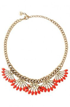 Style with an on-trend gold & coral fan fringe necklace from Stella & Dot. Shop our collection for fashion necklaces, trendy necklaces, pendants & more.