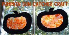 Pumpkin Suncatcher Craft for Toddlers and Preschoolers #ToddlerCrafts #PreschoolCrafts #HalloweenCrafts