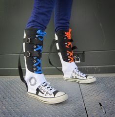 97fcbe0663c65e Knee-high Converse sneakers styled after the Portal long-fall safety boots.