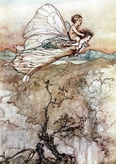 """""""Bear the changeling child to my bower in fairy land"""" by Arthur Rackham Illustration used for Shakespeare's """"Midsummer Night's Dream"""" 1908"""