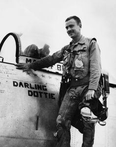 """330-PS-6004 (USMC A 348323): Major John F. Bolt, the first USMC """"Ace"""" during the Korean War has downed his 5th and 6th MiGs while flying with the 5th Air Force in Korea as an exchange pilot. Major Bolt, who shot down six Japanese planes during World War II, flew 89 jet fighter-bomber missions with the First Marine Aircraft Wing, which has been assigned only close support and interdiction missions in Korea. He has flown 37 Sabre jet sweeps with the 5th Air Force, which is carrying the air…"""