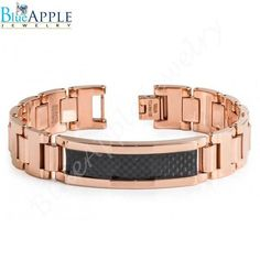 """New 8.5"""" Rose Gold Plated High Polish Tungsten Carbide ID Bracelet with Black Carbon Fiber Inlay Excellent Men's Fashion Gift for Him"""