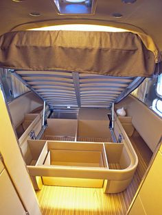 Airstream Landyacht: Bed Storage - Take the 2014 RV Tour on HGTV I can section mine off like this
