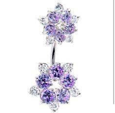 Lavender flower belly ring