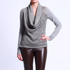 Two Toned Cowl Neck Sweater