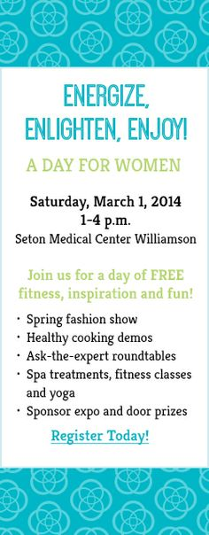 Fun events in the community- fitness, fashion, cooking, pampering!    Not to miss this one!