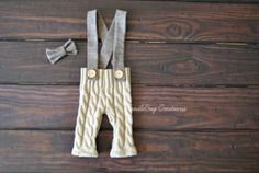 Newborn Photography Pants  Upcycled Tan Cable Knit Suspenders & Bow Tie by ToodleBugCreations, $26.50