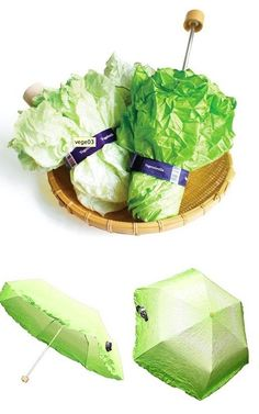 The Vegetabrella Lets You Pretend Your Umbrella Is a Head of Lettuce Kopfsalat-Regenschirm.