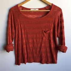 Forever 21 long sleeve top So perfect and cute. Semi sheer, soft material. Love this paired with skinny pants. In great condition. Burnt orange color. Forever 21 Tops Tees - Long Sleeve