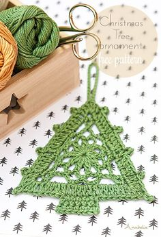Crochet Christmas Tree Ornament free pattern, Anabelia Craft Design, DIY and Crafts, Crochet Christmas Tree Ornament free pattern, Anabelia Craft Design. Crochet Tree, Christmas Tree Pattern, Crochet Christmas Ornaments, Christmas Crochet Patterns, Crochet Stars, Crochet Motifs, Holiday Crochet, Crochet Snowflakes, Snowflake Pattern