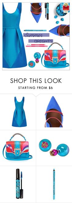 """""""Summer Brights"""" by simona-altobelli ❤ liked on Polyvore featuring Theia, Malone Souliers, Paula Cademartori, Betsey Johnson, Rimmel, NYX, Lancôme, MyStyle, polyvorecontest and summerbrights"""