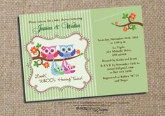 Boy Girl Twins Baby Shower Owl Invitation - Its a Girl - Its a Boy - Printable - Personalized Custom Invites - Chic and Cute. $15.00, via Etsy.