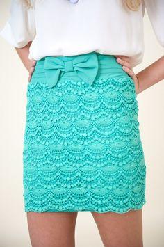 Tiffany blue skirt.