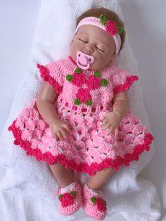 Items similar to Crochet Baby Dress - Crochet Clothes for Newborn - Crochet Dress - Newborn Dress - Baby Gift - Infant Clothes - Baby Shower Gift on Etsy Bonnet Crochet, Crochet Baby Dress Pattern, Baby Girl Dress Patterns, Crochet Shoes, Booties Crochet, Crochet Cardigan, Crochet Clothes, Cute Baby Dresses, Pink Flower Girl Dresses