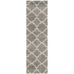 Safavieh Hudson Shag Grey/Ivory Rectangular Indoor Machine-Made Runner