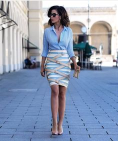 Professional Skirt Outfits- 25 Ideas To Wear Skirts For Work Spring Work Outfits, Spring Outfits Women, Summer Fashion Outfits, Denim Fashion, Skirt Fashion, Fashion Photo, Fashion Fashion, Vintage Fashion, Work Skirts