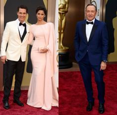 Men (Not) in Black - Oscars 2014 - Matthew McConaughey in Dolce & Gabbana and Kevin Spacey in Burberry