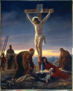 "The Crucifixion --Carl Bloch. From the women, to the look on John's face, to the authenticity of the shape of the cross (in a ""T"", not a ""t""), this piece is so powerful and moving."