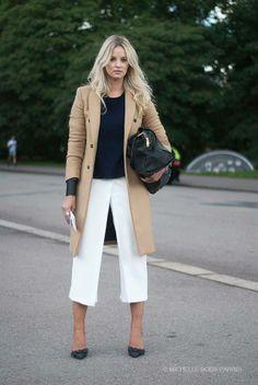 Neutrals. White Trouser Pants + Camel Coat. #LFW #London #Streetstyle