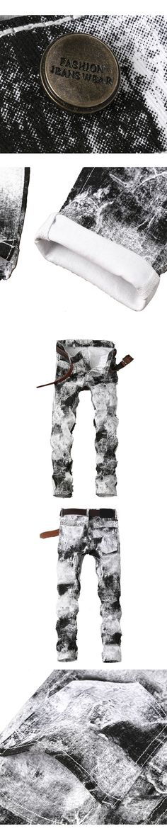 New Brand stretch mens jeans personality printing jeans men casual slim fit trousers denim printed jeans pants JPT001
